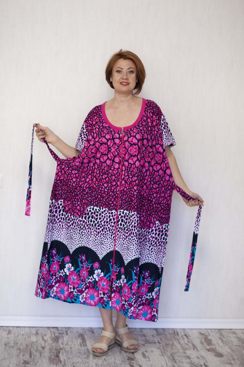 """Трикотажный летний халат женский  """"черепашка"""" очень большой размер"""