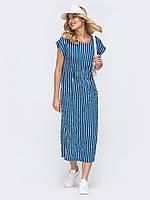 Полосатое платье из хлопка длиной миди  ЛЕТО