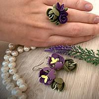 """Фиолетовый комплект украшений ручной работы """"Фиолетово-зеленые тюльпаны"""""""