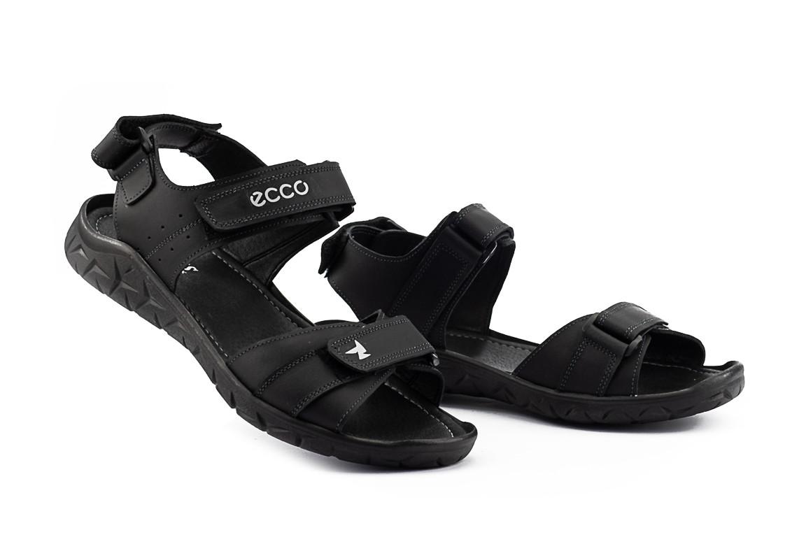 Мужские сандали кожаные летние черные Yuves 411