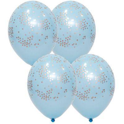 """Латексные шары Belbal пастель Конфетти голубые 14"""" 36 см, 5 шт"""