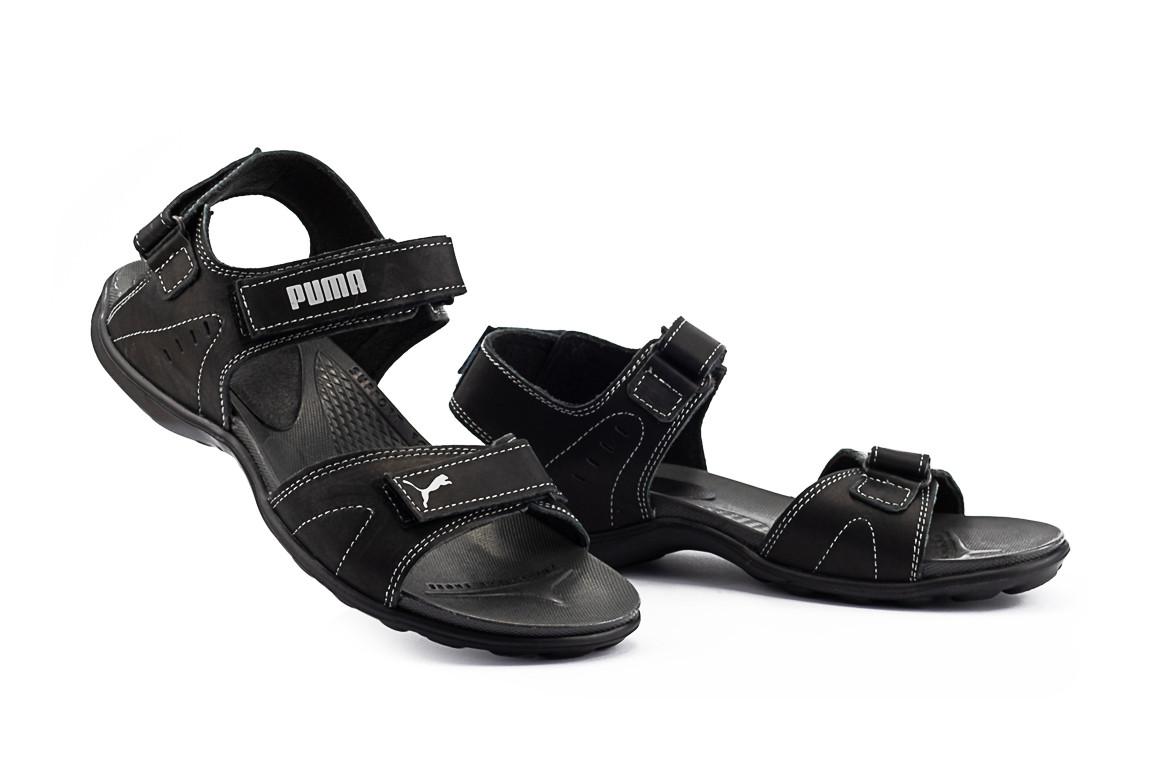 Мужские сандали нубуковые летние черные-серые Monster Tracking П-сер
