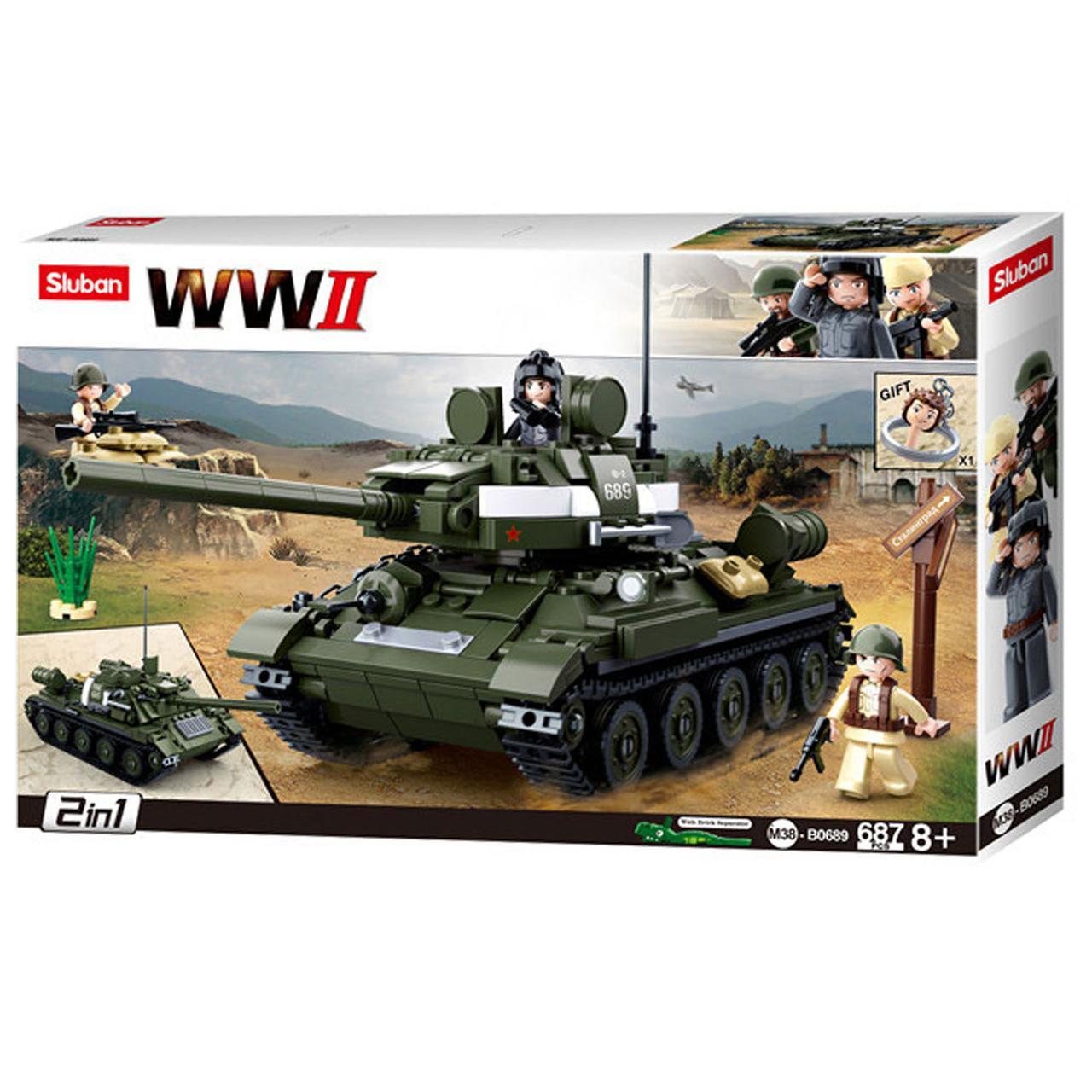 """Конструктор Sluban M38-B0689 """"Танк T34\85 2 в 1"""" 687 дет"""