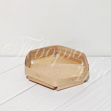 Корзинка шестиугольная из букового шпона 120*120*35 мм