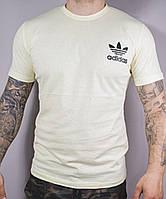 """Футболка мужская коттоновая """"Adidas"""" размер норма 46-52, песочного цвета"""