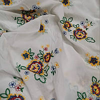 Итальянский сорочечный батист с цветочной вышивкой