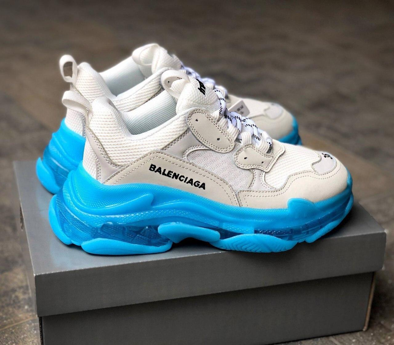 Женские кроссовки Balenciaga Triple S Blue Ocean / Баленсиага