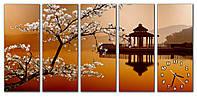 Большие часы картина на стену в гостинную модульные Цвет сакуры 30х75 30х75 30х75 30х75 30х75 см