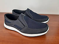 Туфли мужские летние темно синие сетка прошитые удобные (код 6592), фото 1