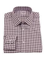 Мужская деловая рубашка с длинными рукавами в клетку Белый, 40