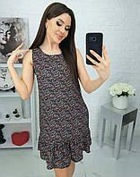 Платье в мелкий цветочек черное с красным 639