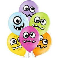 """Латексные шары Belbal с рисунком Забавные монстрики 12"""" 30 см, 5 шт"""