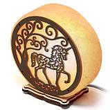 Соляной светильник круглый Единорог зеленый, фото 2