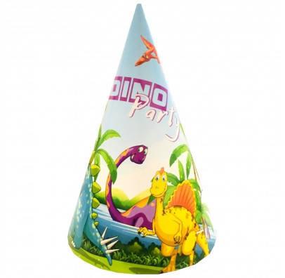 Колпачки детские праздничные Динозавры 10 шт