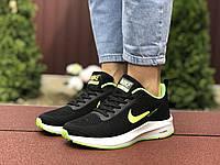 Женские кроссовки Nike Flyknit Lunar 3 (черно-салатовые с белым) 9396