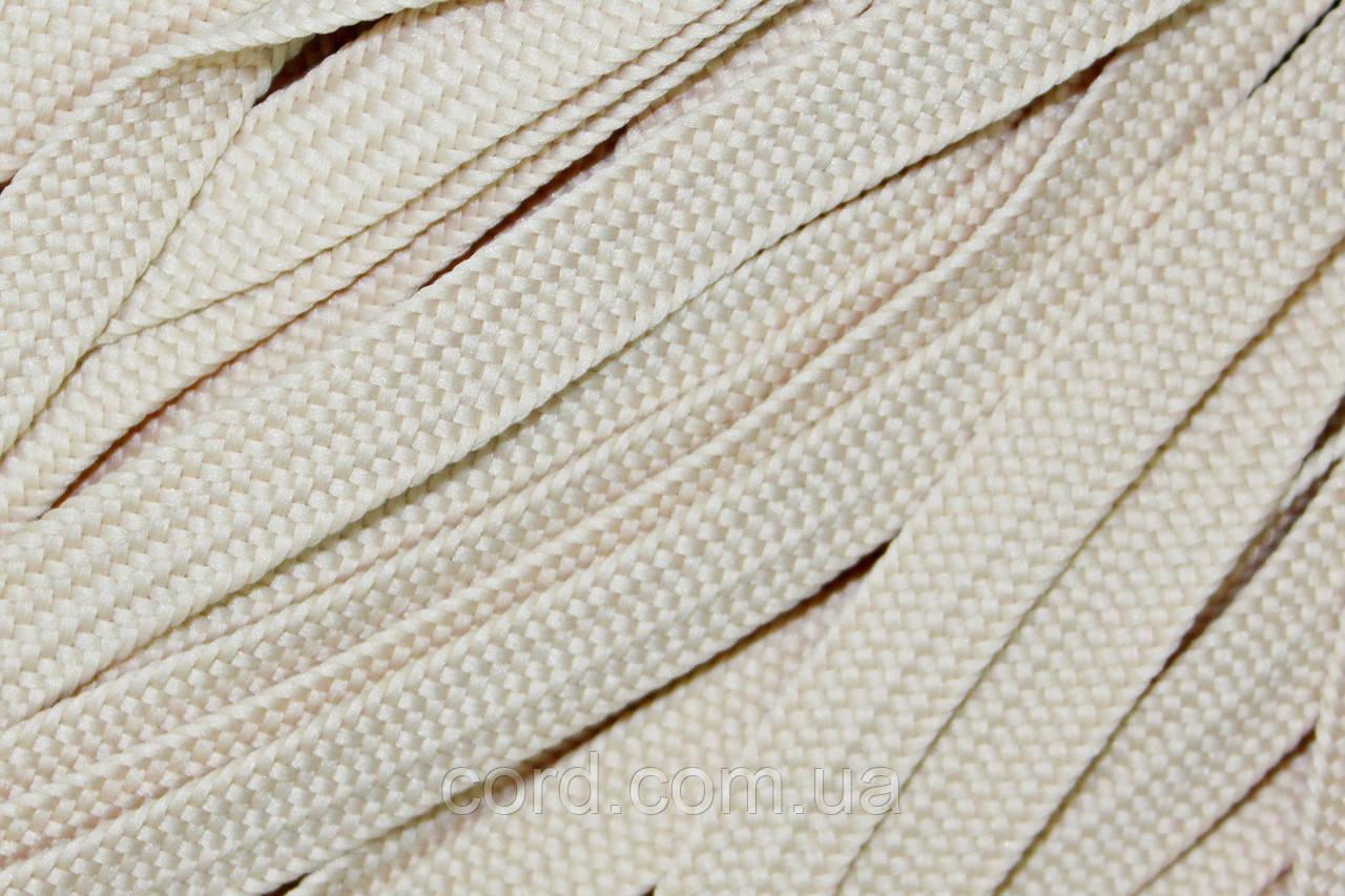 Шнур плоский тесьма 10мм (100м) светло бежевый