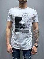 Мужская стильная футболка с черепом (белая) - Турция 5175