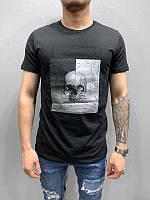 Мужская стильная футболка с черепом (черная) - Турция 5175