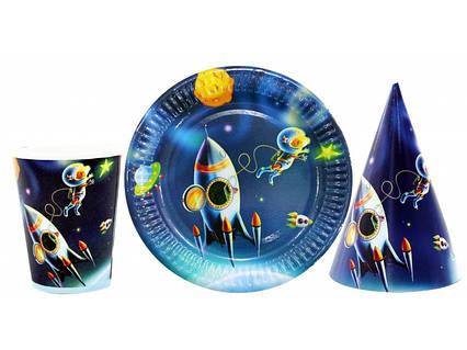 Набор детской праздничной одноразовой посуды Космос .10 тарелок ,10 стаканчиков ,10 колпачков