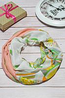 Легкий персиковый шарф снуд в большие горохи хлопковый Galaxy  170*45, фото 1