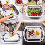 Універсальна обробна дошка 2 в 1 для миття овочів.Складана дошка-трансформер,дошка-миска,chopper, фото 7