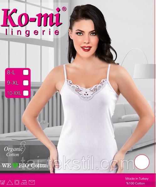 Майка жіноча вузька бретелька з мереживом білий колір відмінна якість KO-MI