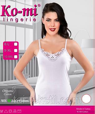 Майка жіноча вузька бретелька з мереживом білий колір відмінна якість KO-MI, фото 2