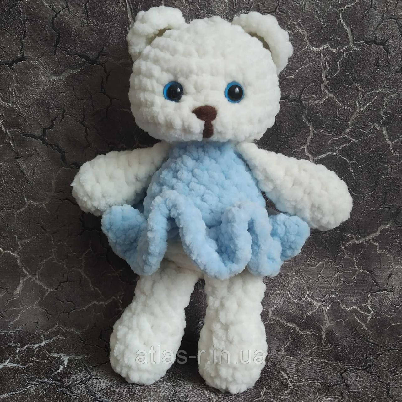 Ведмедик в блакитному 20см. Іграшка ручної роботи