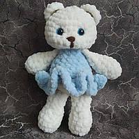 Ведмедик в блакитному 20см. Іграшка ручної роботи, фото 1