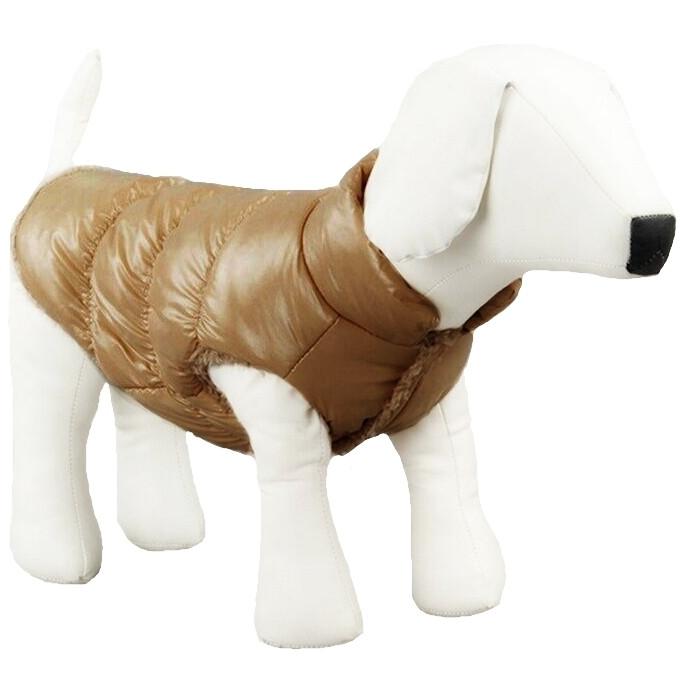 Куртка для собак «Дутик», коричневий, зимова, осіння одяг для собак дрібних, середніх порід