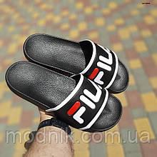 Мужские летние шлепки Fila (черно-белые с красным) 40003