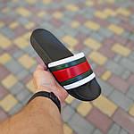 Чоловічі літні шльопанці (чорно-білі з червоним) 40005, фото 2