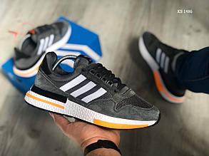 Мужские кроссовки Adidas ZX500 RM (темно-серые) KS 1486