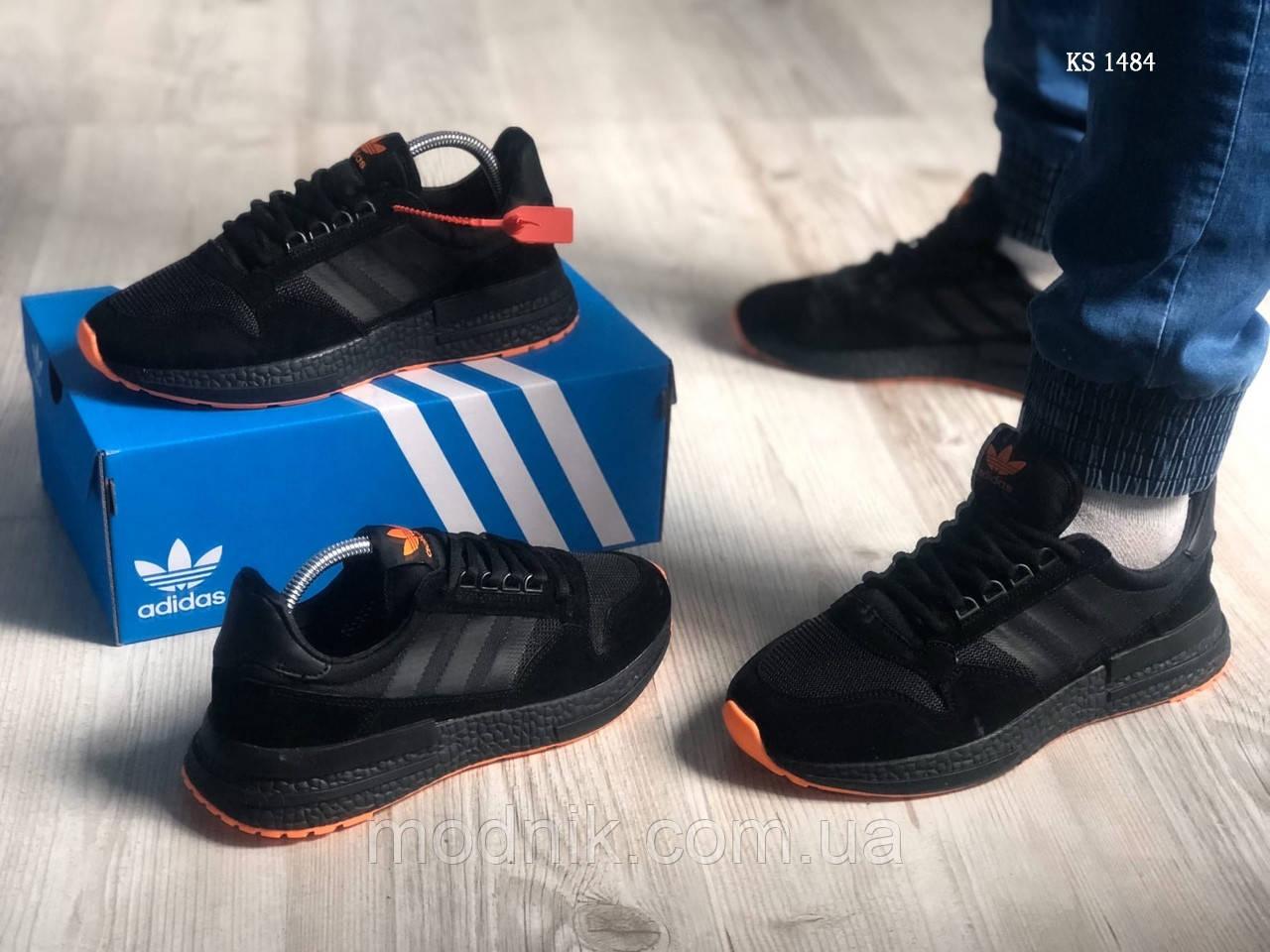 Чоловічі кросівки Adidas ZX500 RM (чорно-помаранчеві) KS 1484