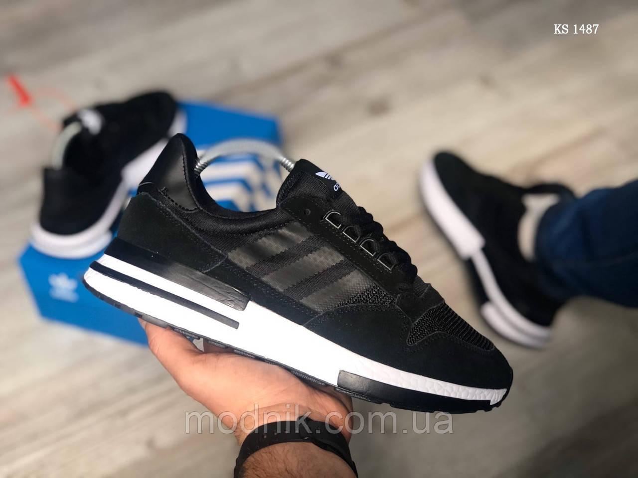 Мужские кроссовки Adidas ZX500 RM (черно-белые) KS 1487