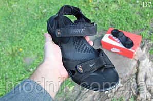 Мужские летние сандалии Nike (черно-оранжевые) D7
