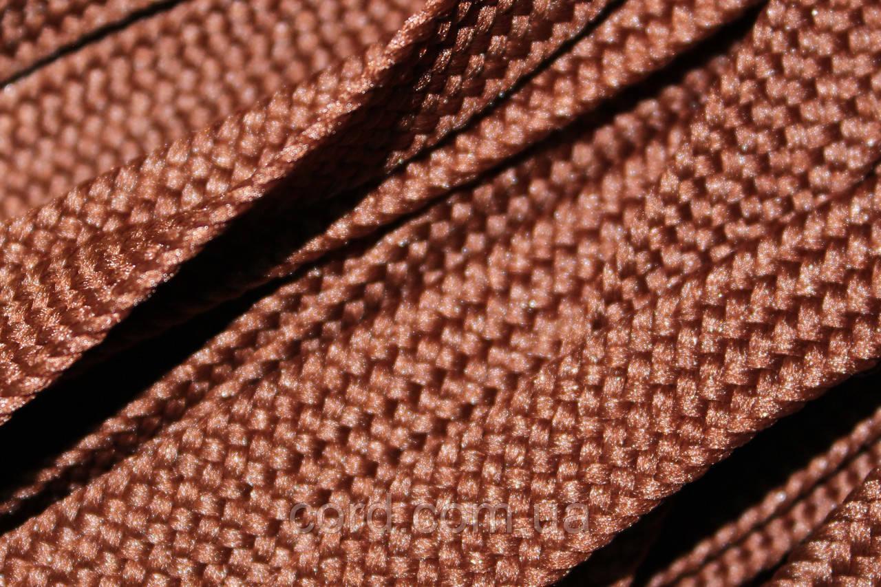 Шнур плоский тесьма 10мм (100м) коричневый