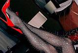 Женские колготки в стразах Размер 2 Цвет Чёрный Мелкая сетка КОД ТОВАРА 100-020, фото 2
