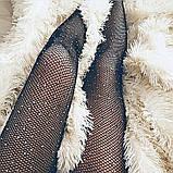 Женские колготки в стразах Размер 2 Цвет Чёрный Мелкая сетка КОД ТОВАРА 100-020, фото 8