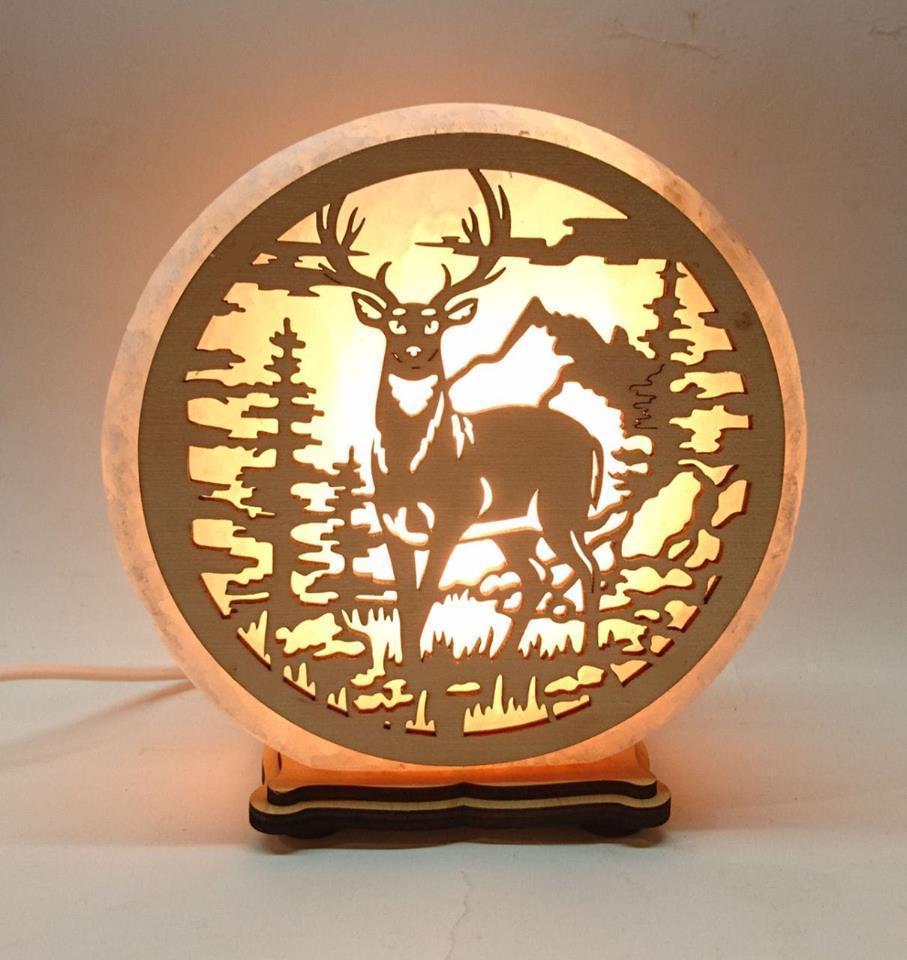 Соляний світильник круглий Олень в лісі