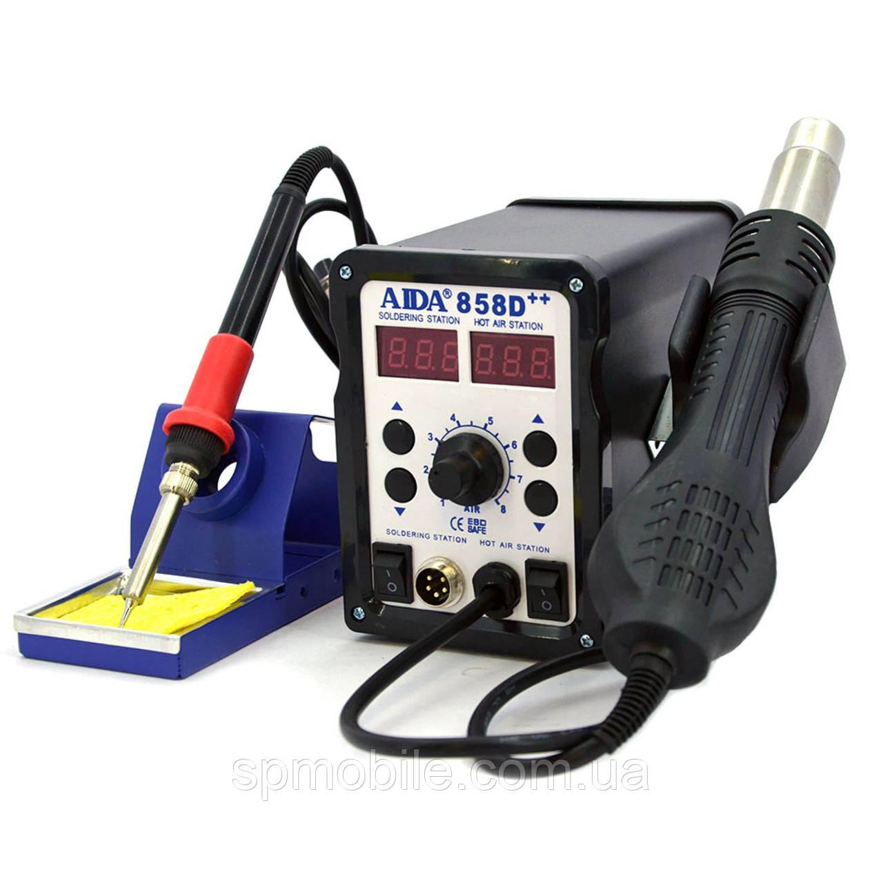 Паяльная станция Aida A-858D++ цифровая индикация,фен,паяльник (нагревательный элемент Hakko)