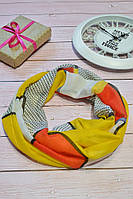 Желтый воздушный хлопковый шарф снуд  с блестками  Twinkle 43*180, фото 1