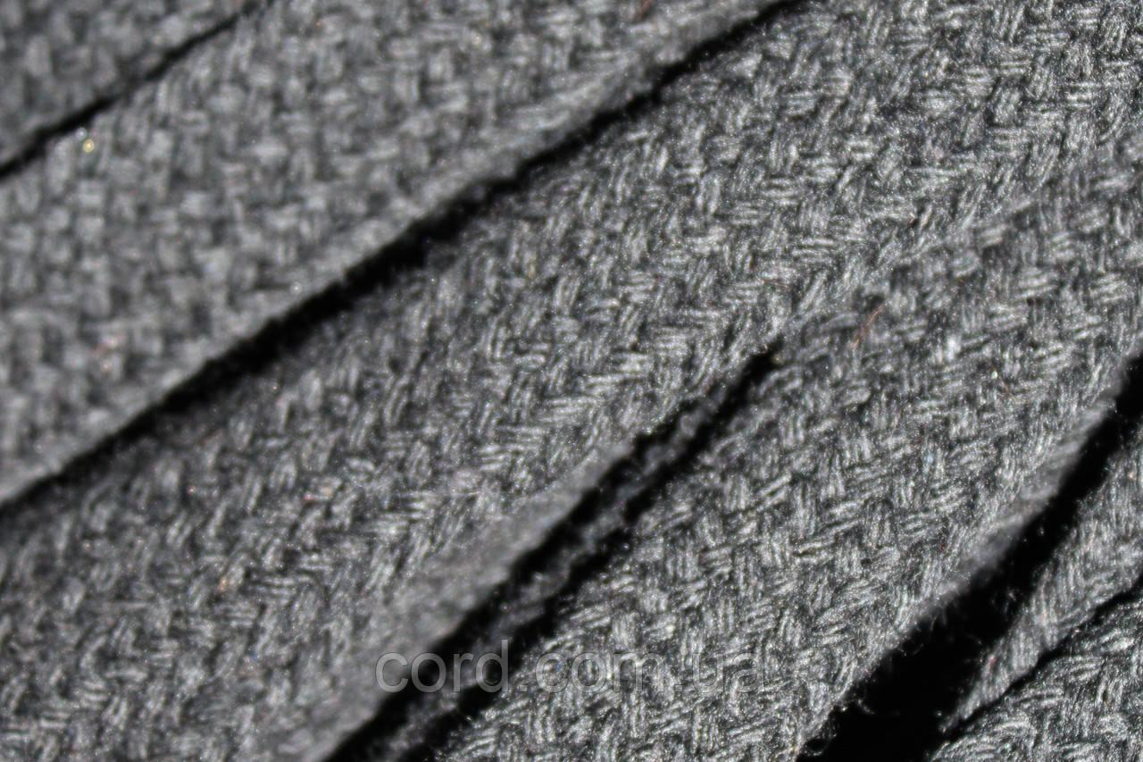Шнур плоский чехол ХБ 10мм (100м) черный
