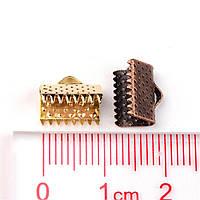 Зажим для ленты 10х8 мм серебро для рукоделия