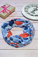 Синий шарф снуд в горохи из хлопка с блестками Demure 180*42, фото 1