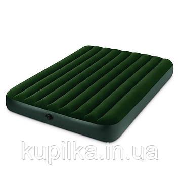 Двухместный, надувной, велюровый матрас Intex 66969 (152x203x22 см) с внешним электронасосом на батарейках