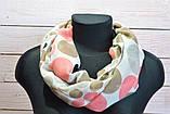 Коричневый шарф снуд в горохи из хлопка с блестками Demure 180*42, фото 2