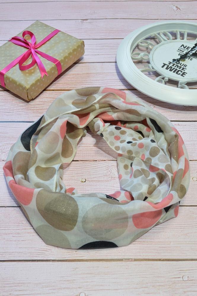 Коричневый шарф снуд в горохи из хлопка с блестками Demure 180*42