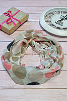 Коричневый шарф снуд в горохи из хлопка с блестками Demure 180*42, фото 1