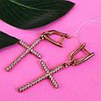 Серьги кресты серебро с позолотой, фото 7